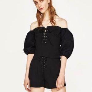 Zara Basic black off shoulder corset top Medium